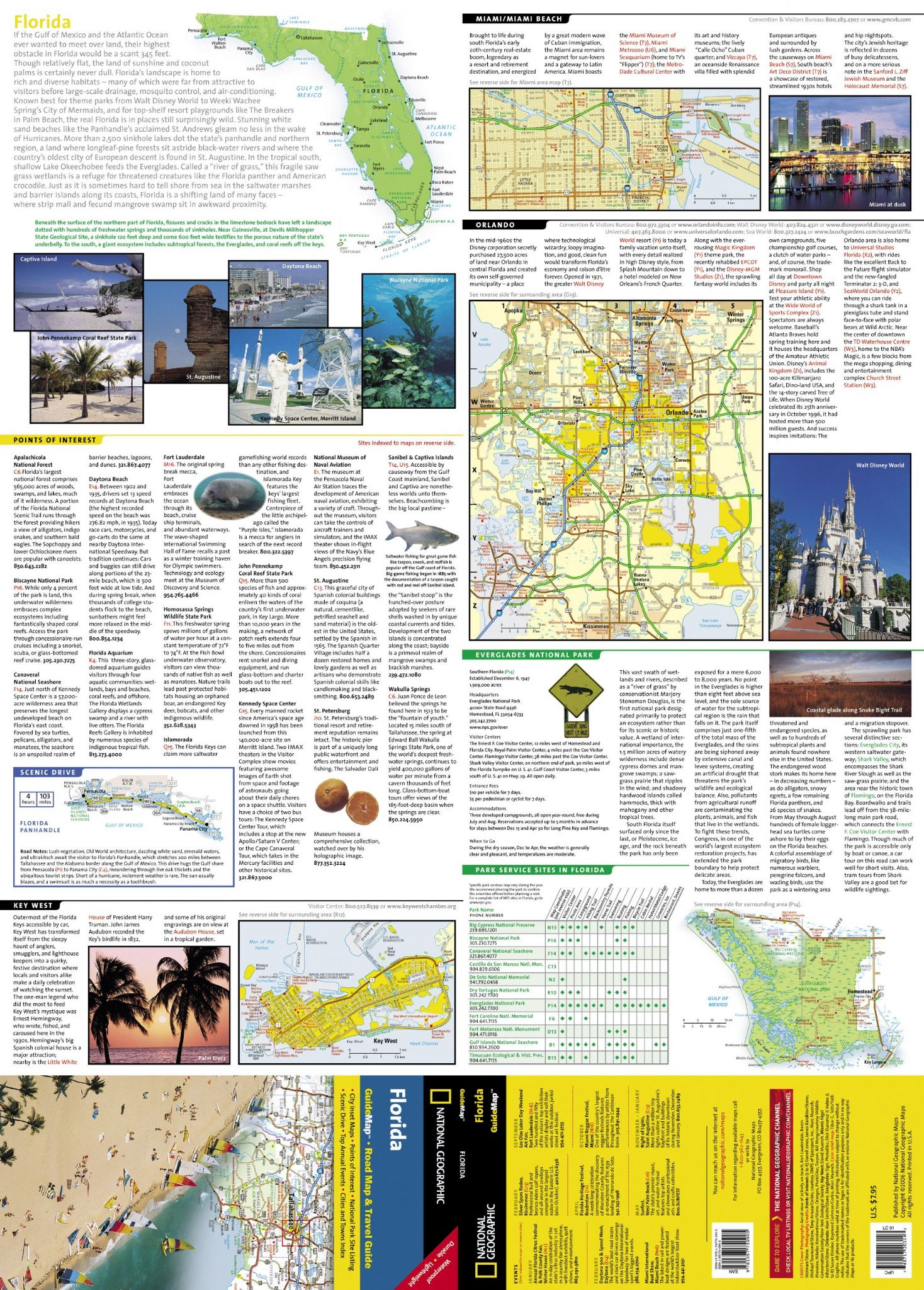 Florida Travel Guide Map.Florida Road Map Travel Guide Gm16